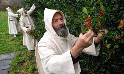 Karthauzi szerzetesek a kertben